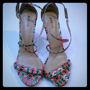 JustFab Pink Floral Strappy Heels 8.5